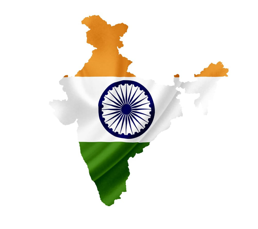 Flag of India in the shape of India