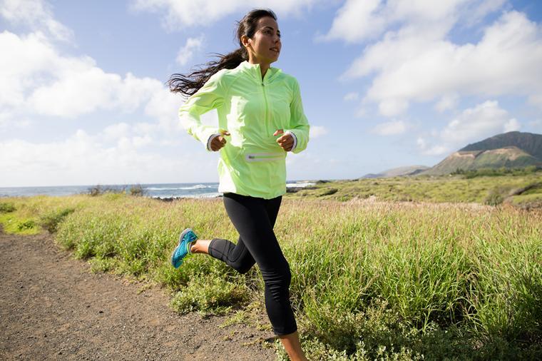 woman running in Lululemon clothing