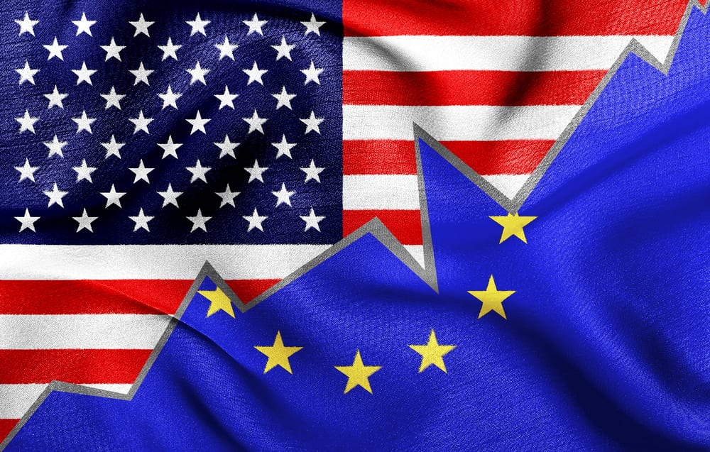 [U.S. and European flags overlaid]