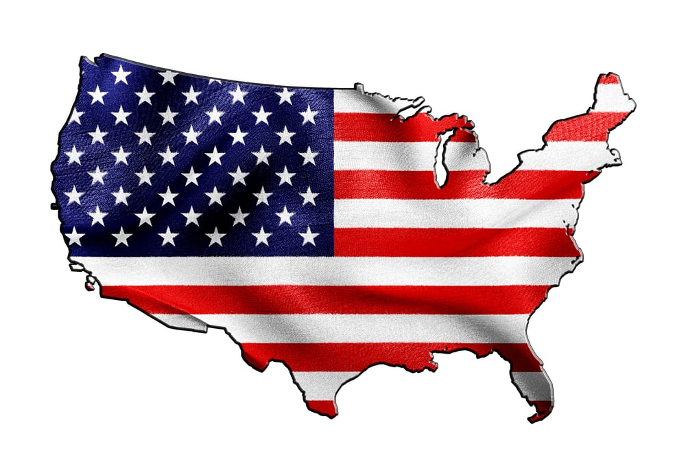 [U.S. flag in shape of U.S.]
