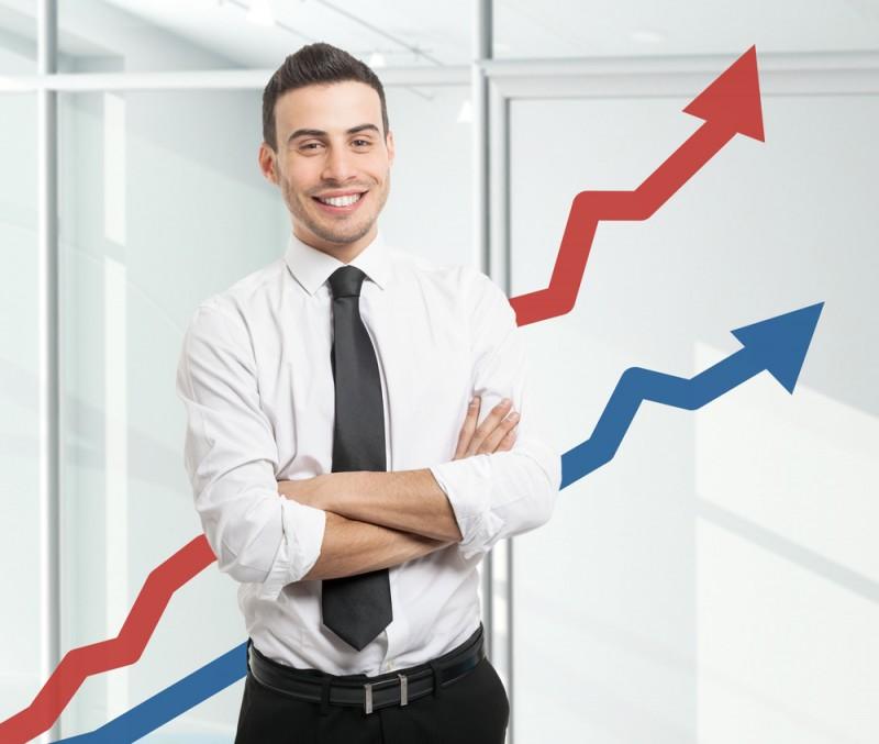 [happy investor up arrows]