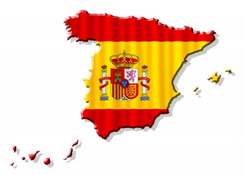 [Spanish flag in the shape of Spain]