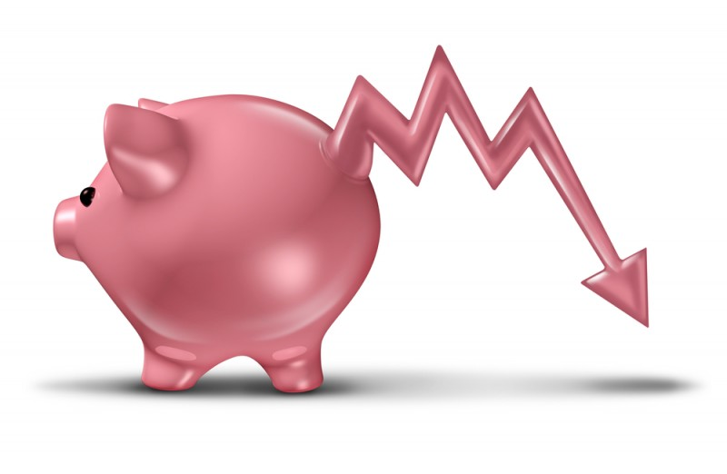 [piggy bank with a downward trending tail]