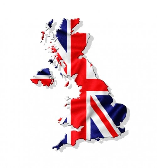 [U.K. flag in shape of the UK}