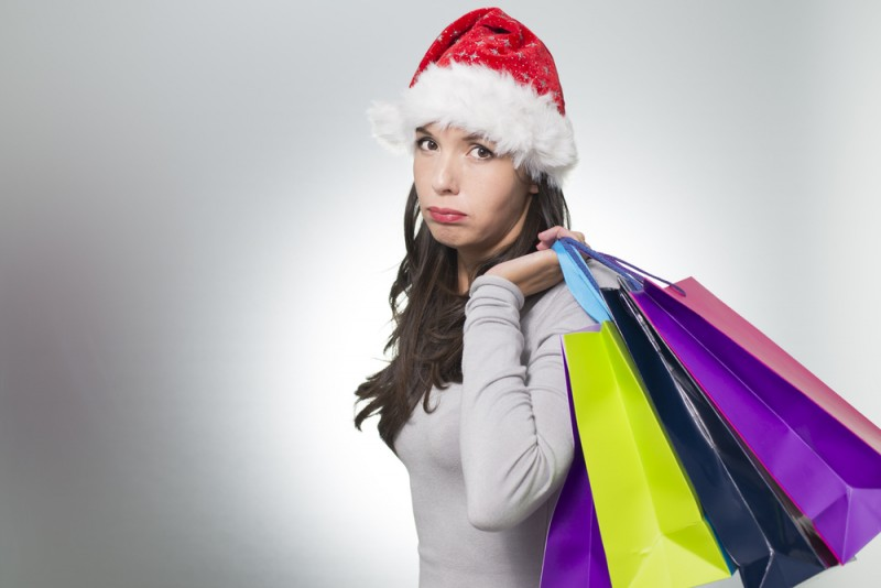 [unhappy Christmas shopper]